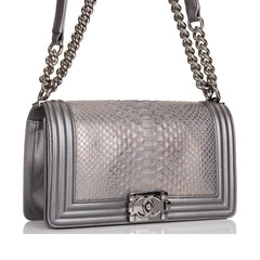 Chanel Silver Python Medium Boy Bag Ruthenium Hardware