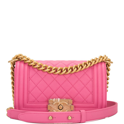 1fd7288a2d8e11 Chanel Pink Quilted Calfskin Small Boy Bag