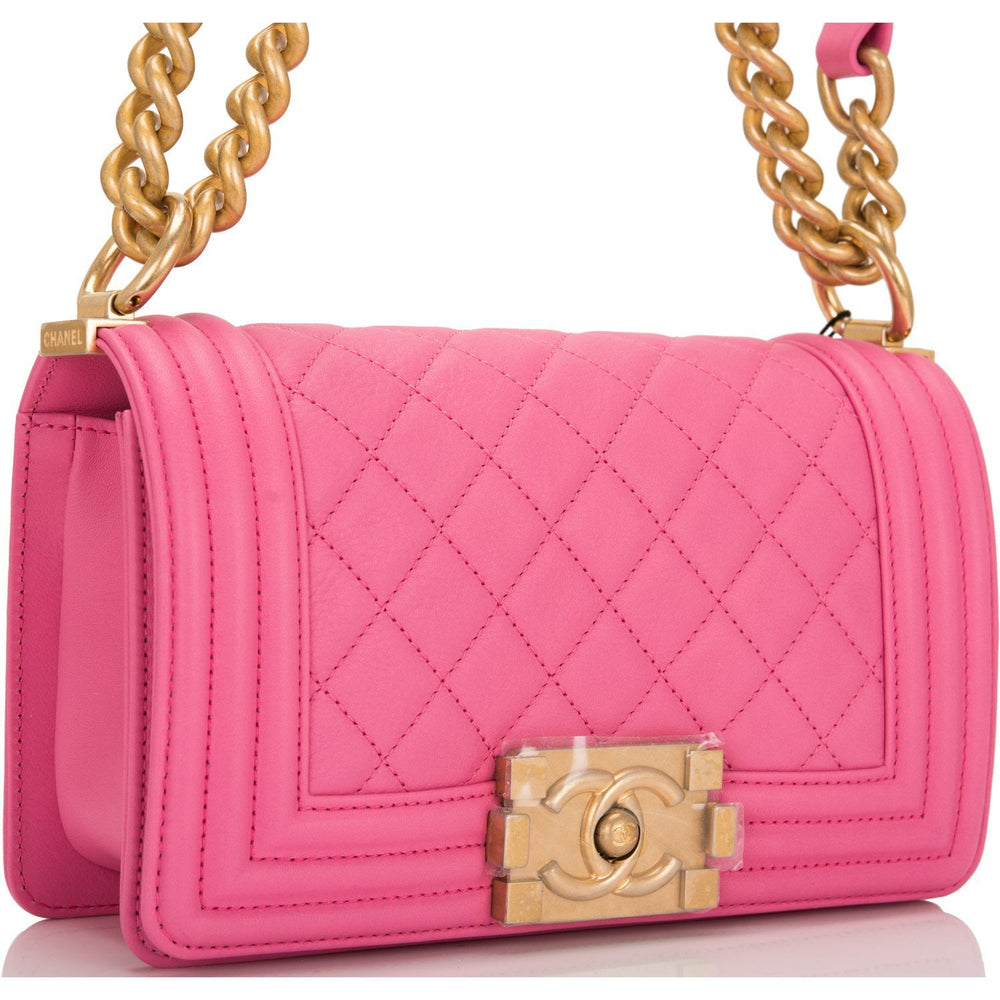 Chanel Pink Quilted Calfskin Small Boy Bag