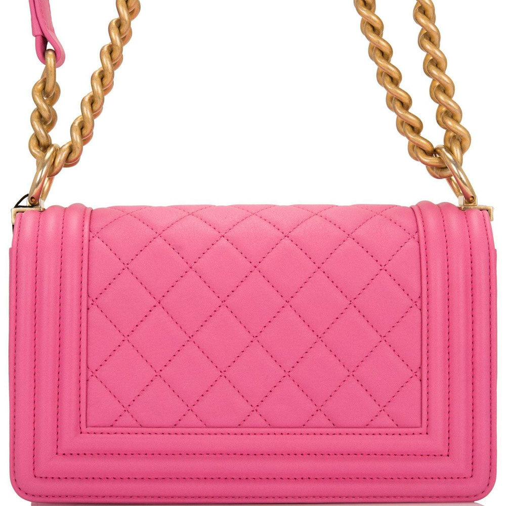 Chanel Pink Quilted Calfskin Small Boy Bag Antique Gold Hardware
