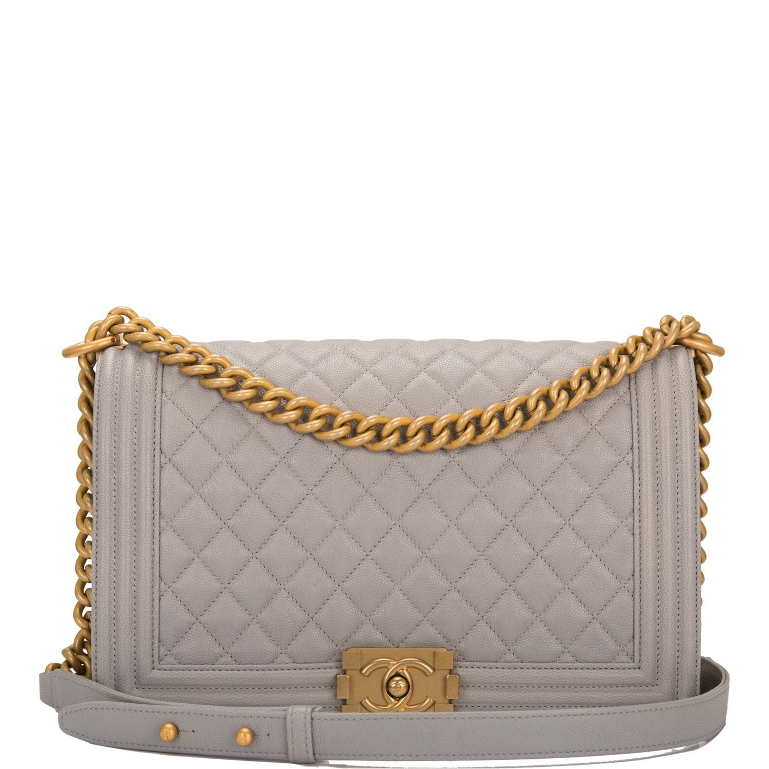 6e334bfba9af7c Chanel Grey Quilted Caviar New Medium Boy Bag – Madison Avenue Couture