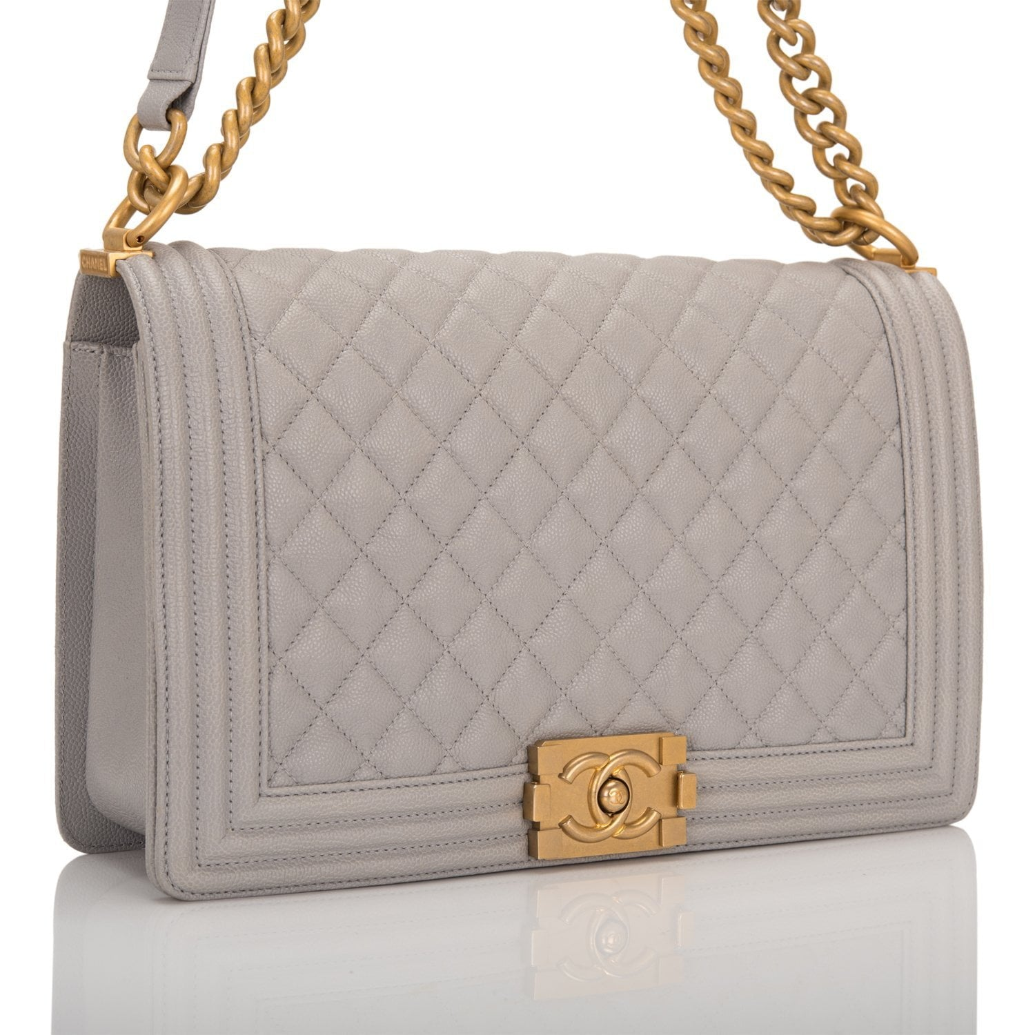 c129f420b883 Chanel Grey Quilted Caviar New Medium Boy Bag – Madison Avenue Couture