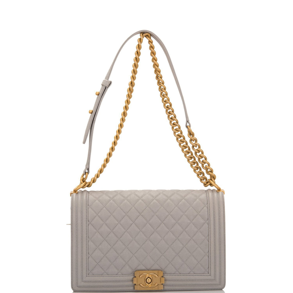 Chanel Grey Quilted Caviar New Medium Boy Bag Antique Gold Hardware