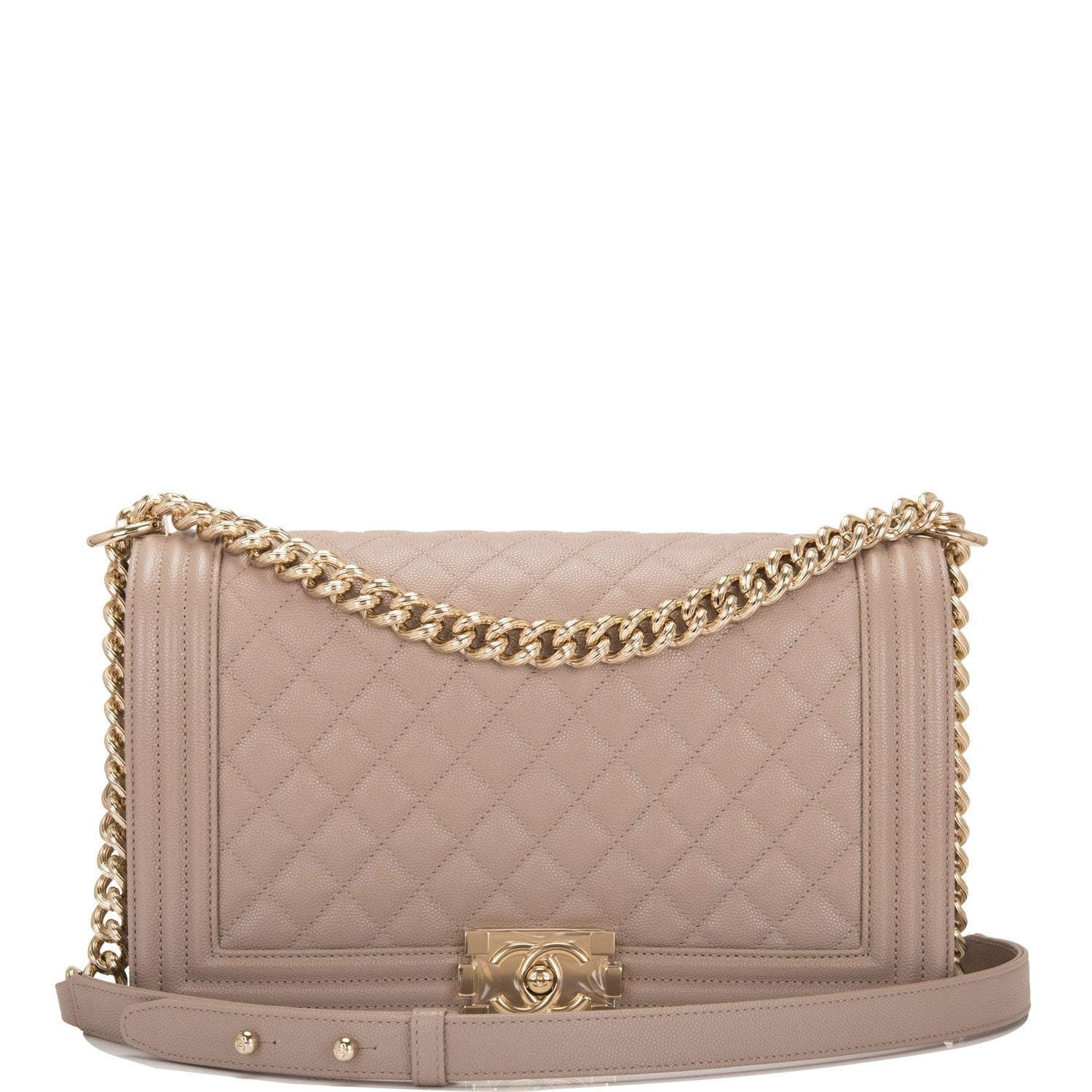 Chanel Dark Beige Shiny Quilted Caviar New Medium Boy Bag
