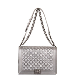 Chanel Metallic Silver Quilted Calfskin Large Boy Bag Ruthenium Hardware (Preloved - Mint)