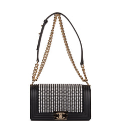 Chanel Black Imitation Pearl Medium Boy Bag Light Gold Hardware