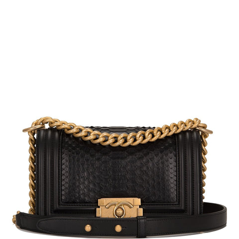 Chanel Black Python Small Boy Bag