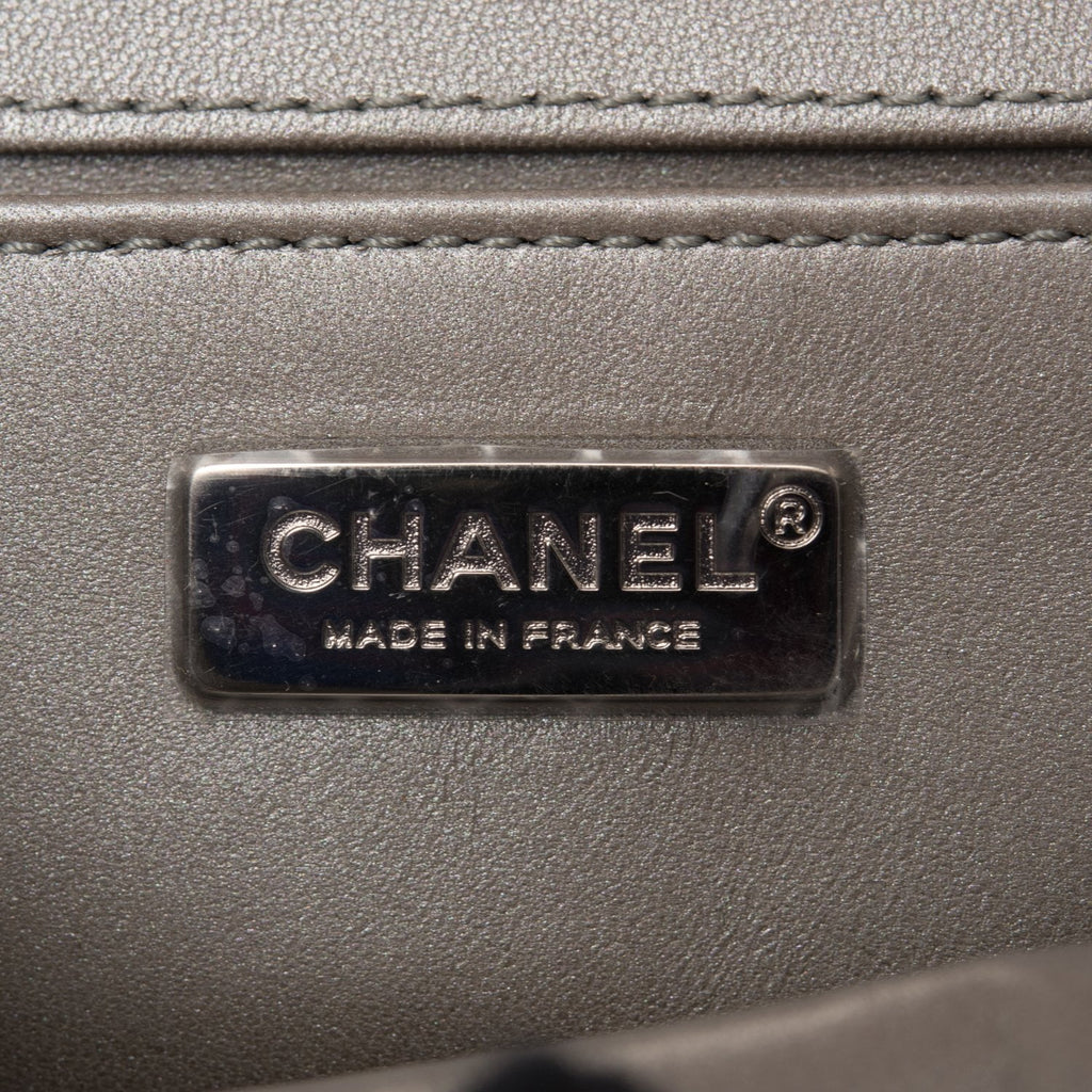 Chanel Silver Metallic Stingray Small Boy Bag