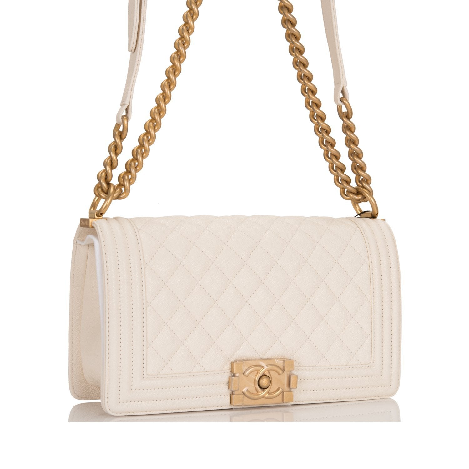 fd037842a7d2 Chanel White Quilted Caviar Medium Boy Bag – Madison Avenue Couture