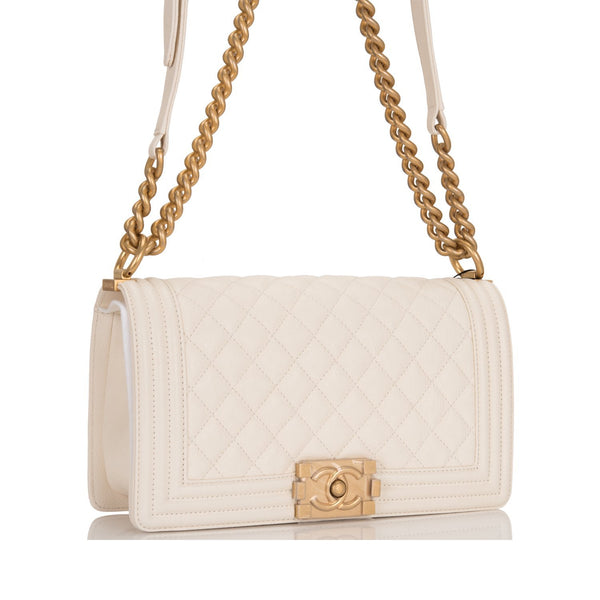 1ccb1e8f2b56 Chanel White Quilted Caviar Medium Boy Bag – Madison Avenue Couture