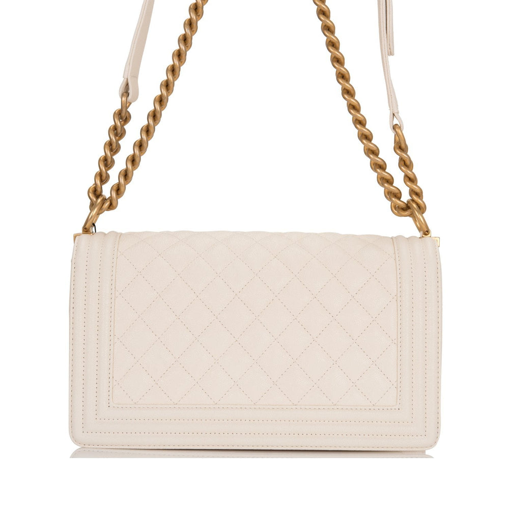 Chanel White Quilted Caviar Medium Boy Bag