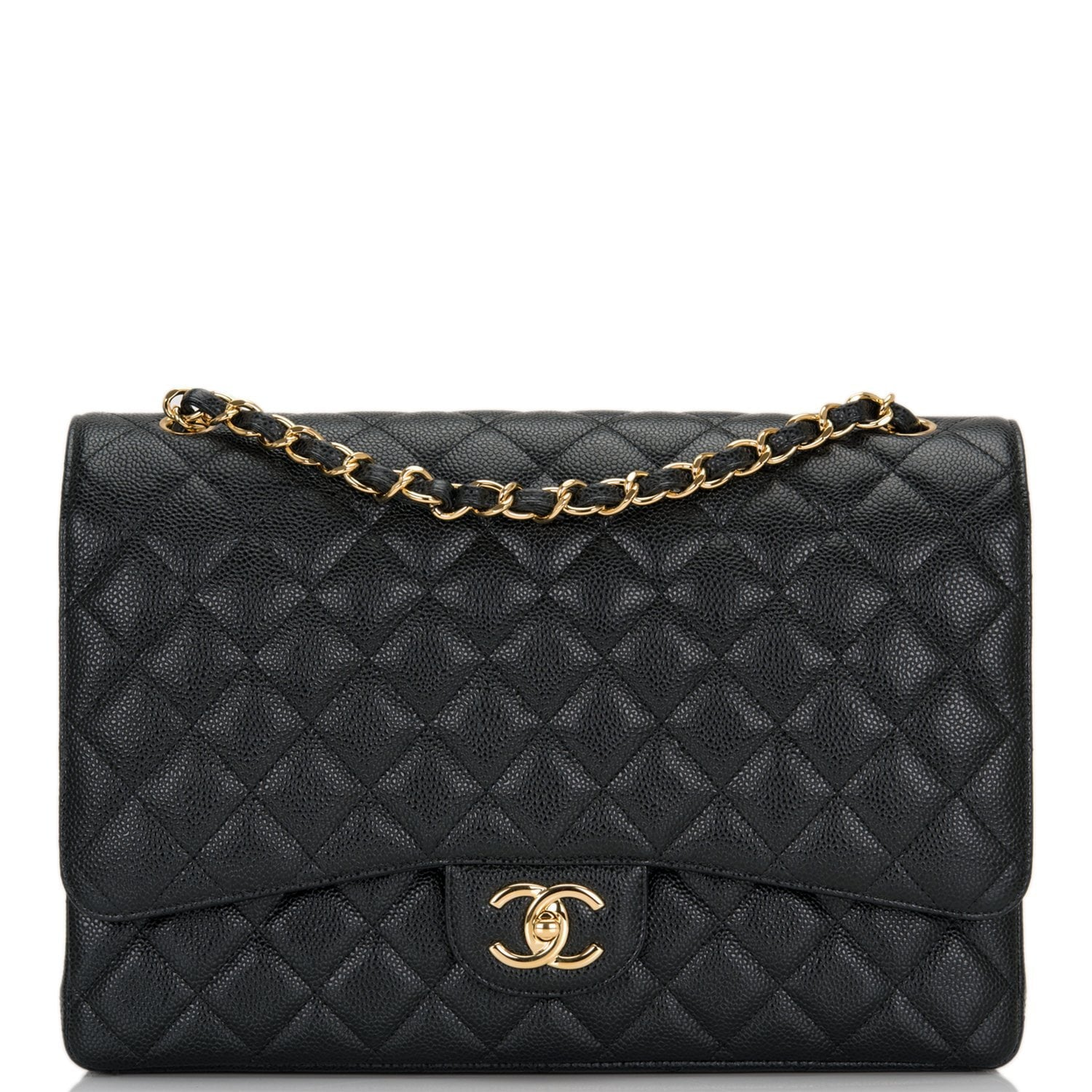 309adaae8ff0ec Chanel Black Quilted Caviar Maxi Classic Double Flap Bag – Madison Avenue  Couture