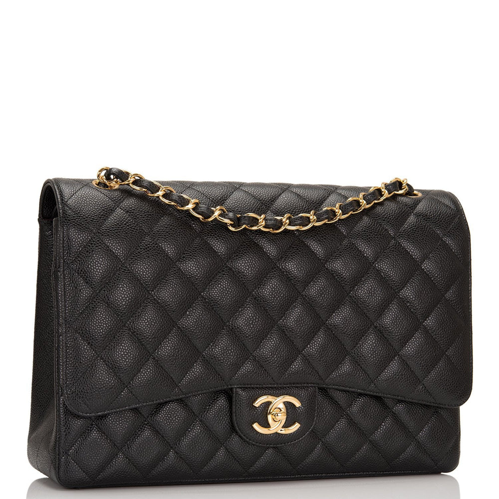 Chanel Black Quilted Caviar Maxi Classic Double Flap Bag