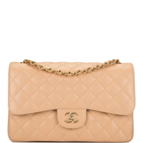 Chanel Beige Quilted Caviar Jumbo Classic Double Flap Bag