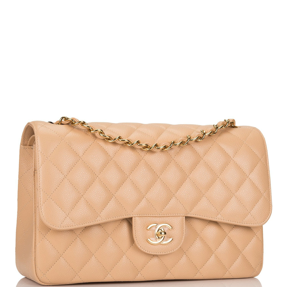 Chanel Beige Quilted Caviar Jumbo Classic Double Flap Bag Gold Hardware