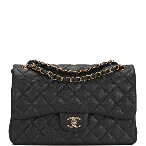 Chanel Dark Grey Shiny Quilted Caviar Jumbo Classic Double Flap Bag 6b3766d7faf