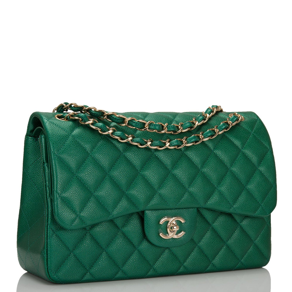 Chanel Green Shiny Quilted Caviar Jumbo Classic Double Flap Bag