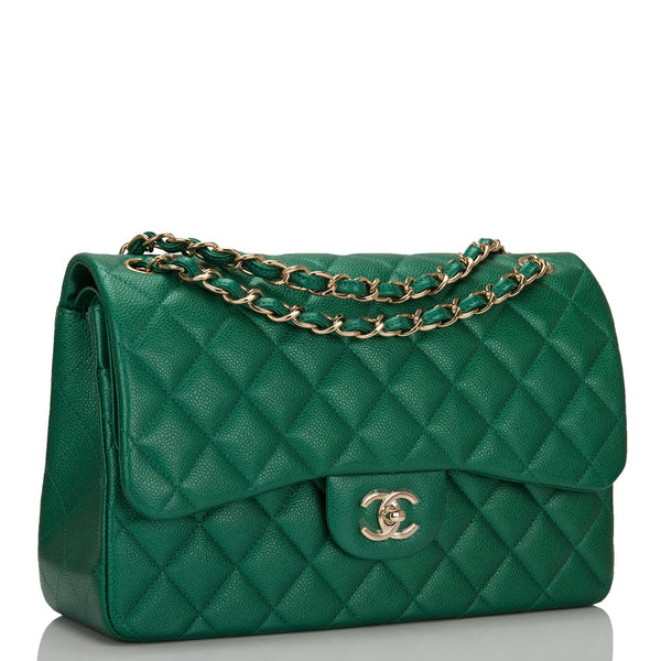 446db058b44183 Chanel Green Shiny Quilted Caviar Jumbo Classic Double Flap Bag ...