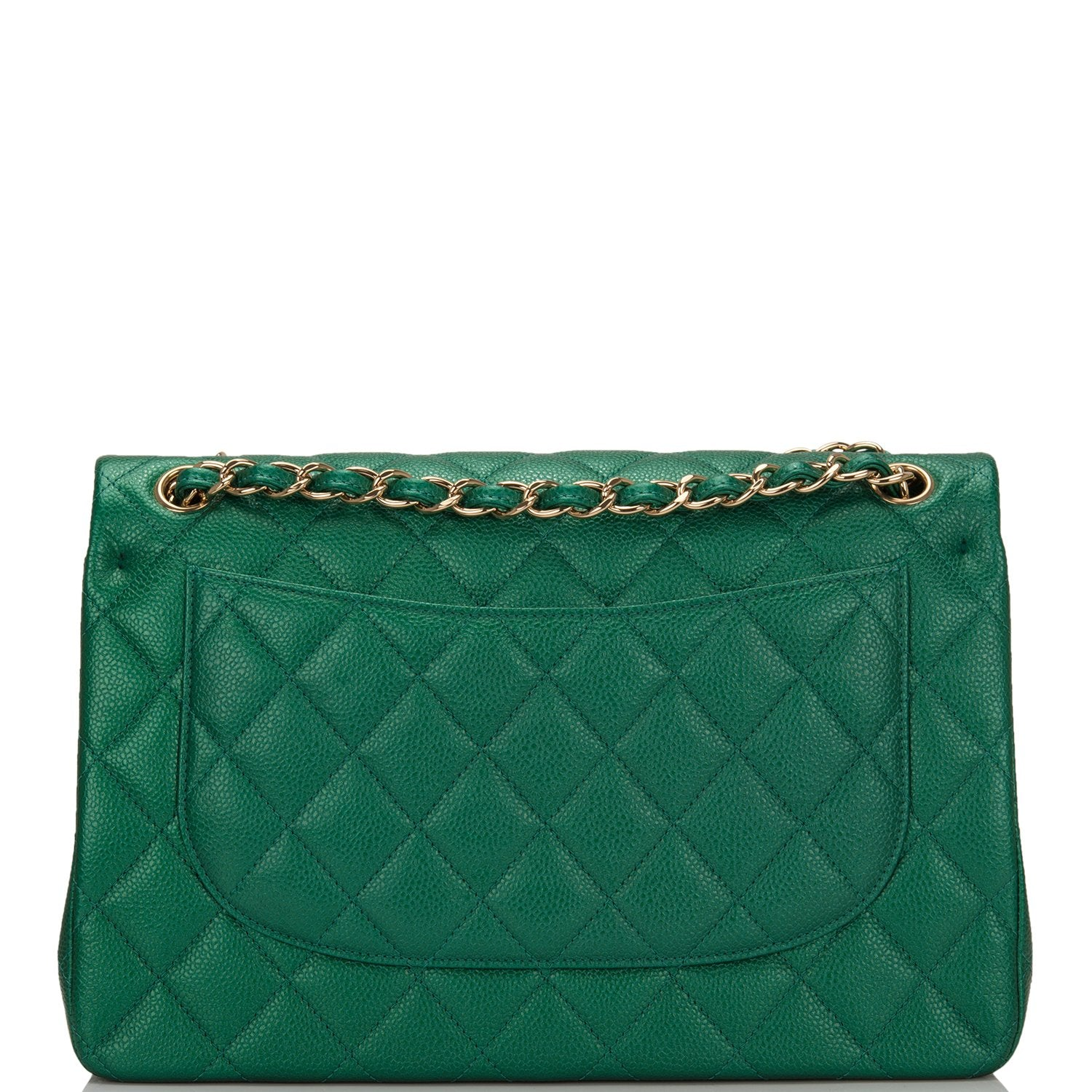 064efbfce850 Chanel Green Shiny Quilted Caviar Jumbo Classic Double Flap Bag ...