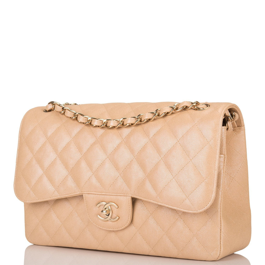 Chanel Beige Iridescent Quilted Caviar Jumbo Classic Double Flap Bag Gold Hardware