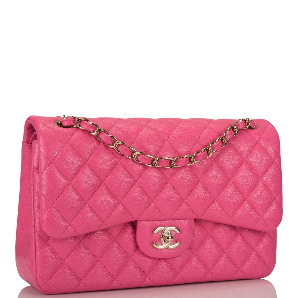 Chanel Pink Quilted Caviar Jumbo Classic Double Flap Bag Light Gold Hardware