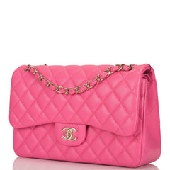 Chanel Pink Quilted Caviar Jumbo Classic Double Flap Bag