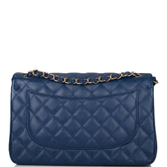 Chanel Navy Quilted Caviar Jumbo Classic Double Flap Bag