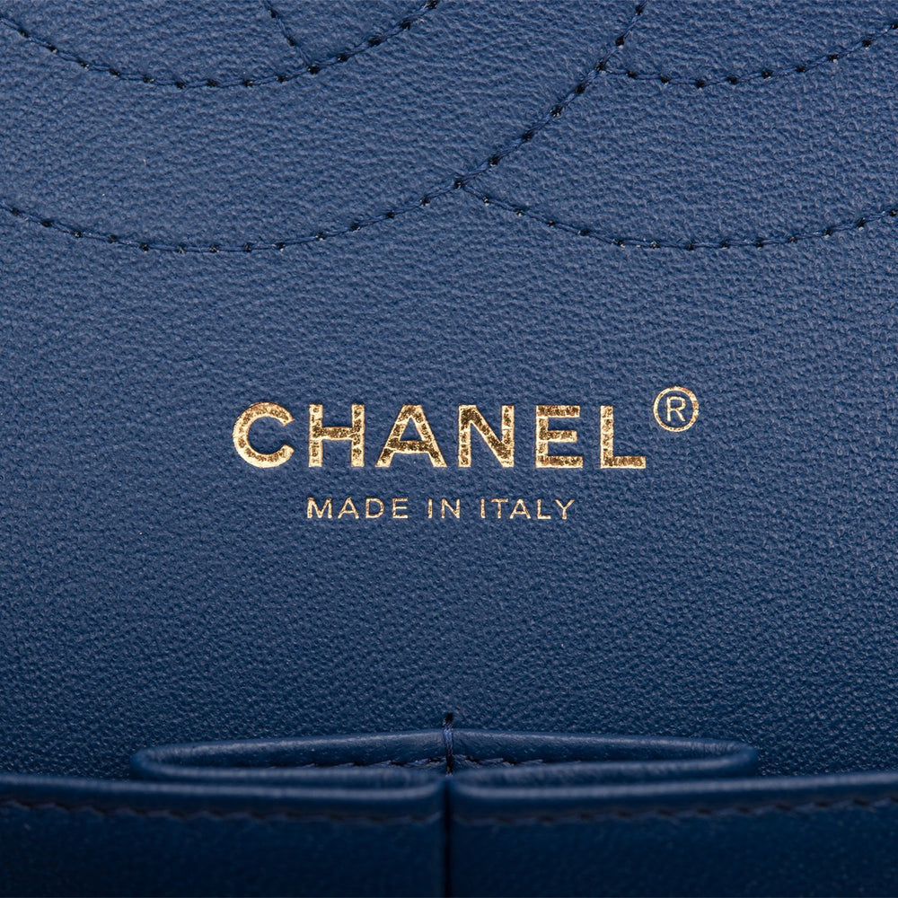 Chanel Navy Quilted Caviar Jumbo Classic Double Flap Bag Light Gold Hardware