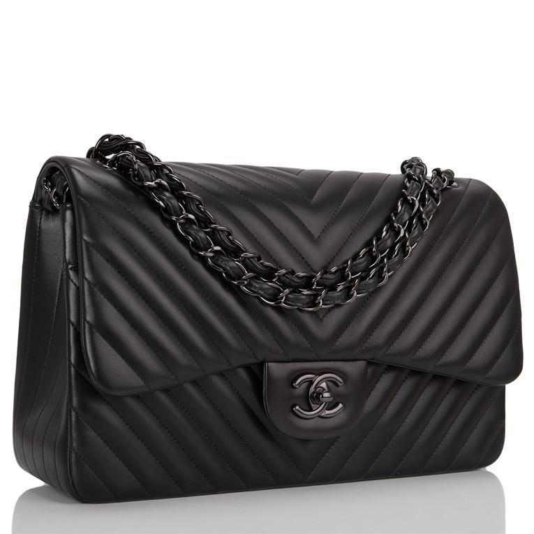 Chanel So Black Chevron Jumbo Double Flap Bag
