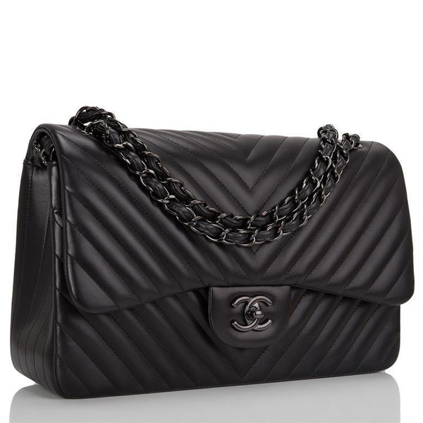 18e0dec4db50 Chanel So Black Chevron Jumbo Double Flap Bag – Madison Avenue Couture