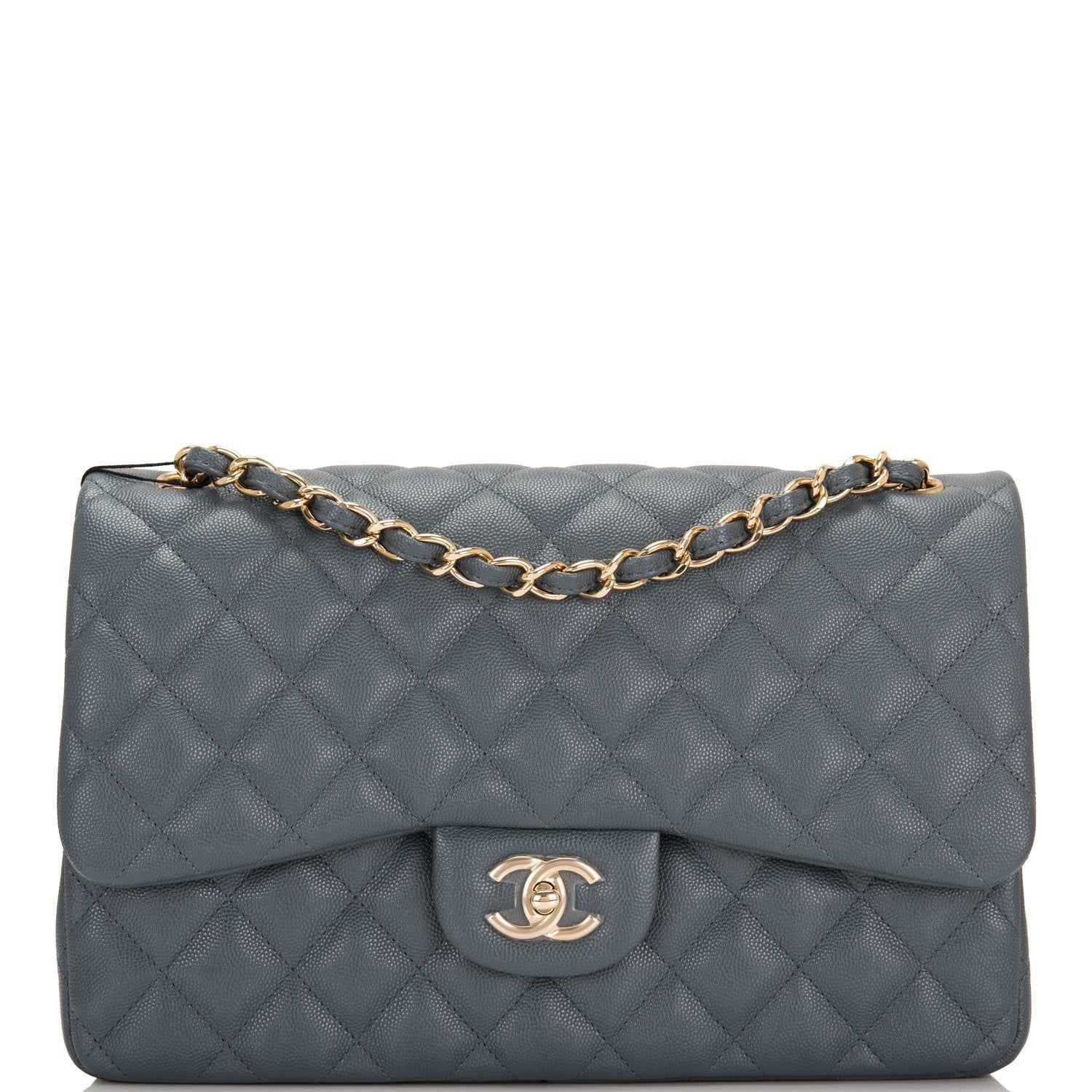 e96dcdcd726a41 Chanel Slate Grey Quilted Caviar Jumbo Classic Double Flap Bag ...