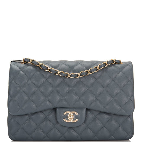 Chanel Slate Grey Quilted Caviar Jumbo Classic Double Flap Bag