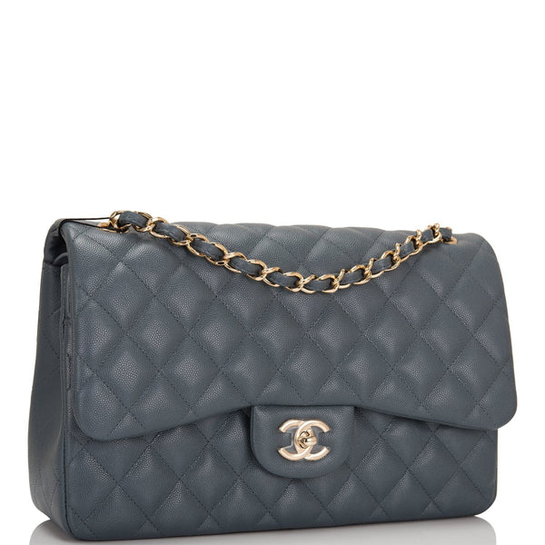 6bc496f7607d Chanel Slate Grey Quilted Caviar Jumbo Classic Double Flap Bag ...