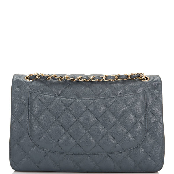 ee4f68629dd443 ... Chanel Slate Grey Quilted Caviar Jumbo Classic Double Flap Bag ...