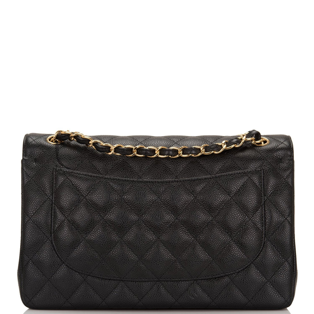 Chanel Black Quilted Caviar Jumbo Classic Double Flap Bag Gold Hardware