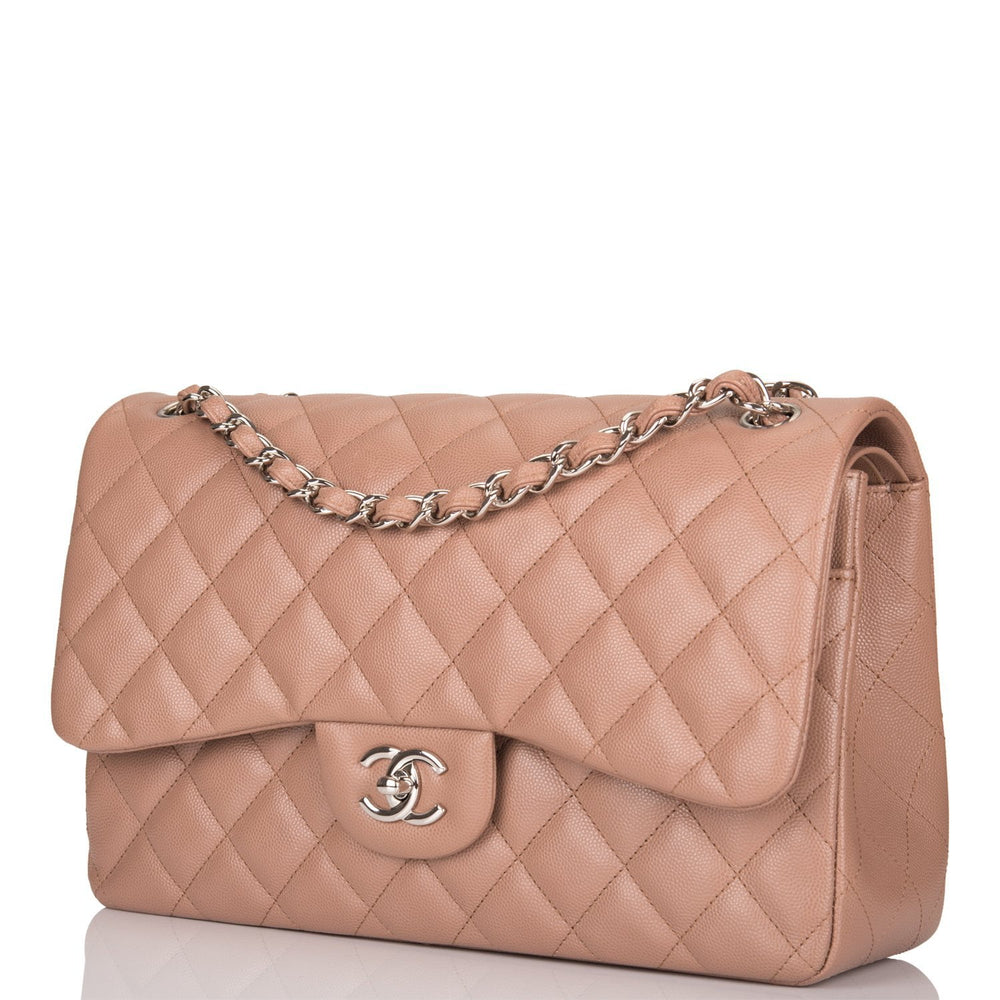 Chanel Dark Beige Quilted Caviar Jumbo Classic Double Flap Bag (Preloved - Mint)