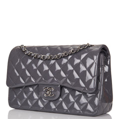 Chanel Dark Grey Quilted Patent Jumbo Classic Double Flap Bag Silver Hardware
