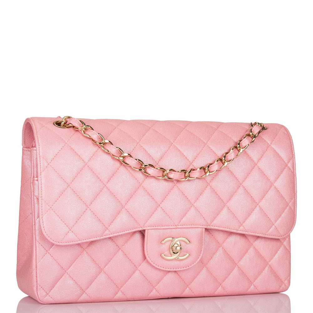 Chanel Iridescent Pink Quilted Caviar Jumbo Classic Double Flap Bag Gold Hardware