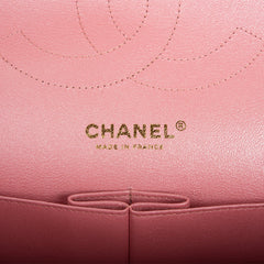 Chanel Iridescent Pink Quilted Caviar Jumbo Classic Double Flap Bag