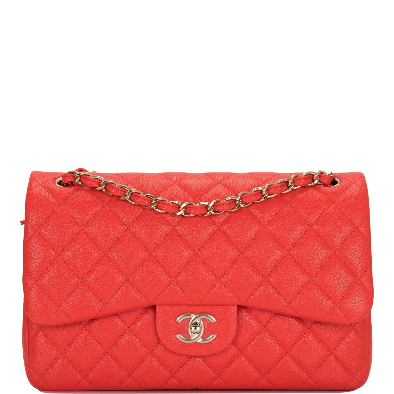 e2bc89dc229 Chanel Red Shiny Quilted Caviar Jumbo Classic Double Flap Bag – Madison  Avenue Couture