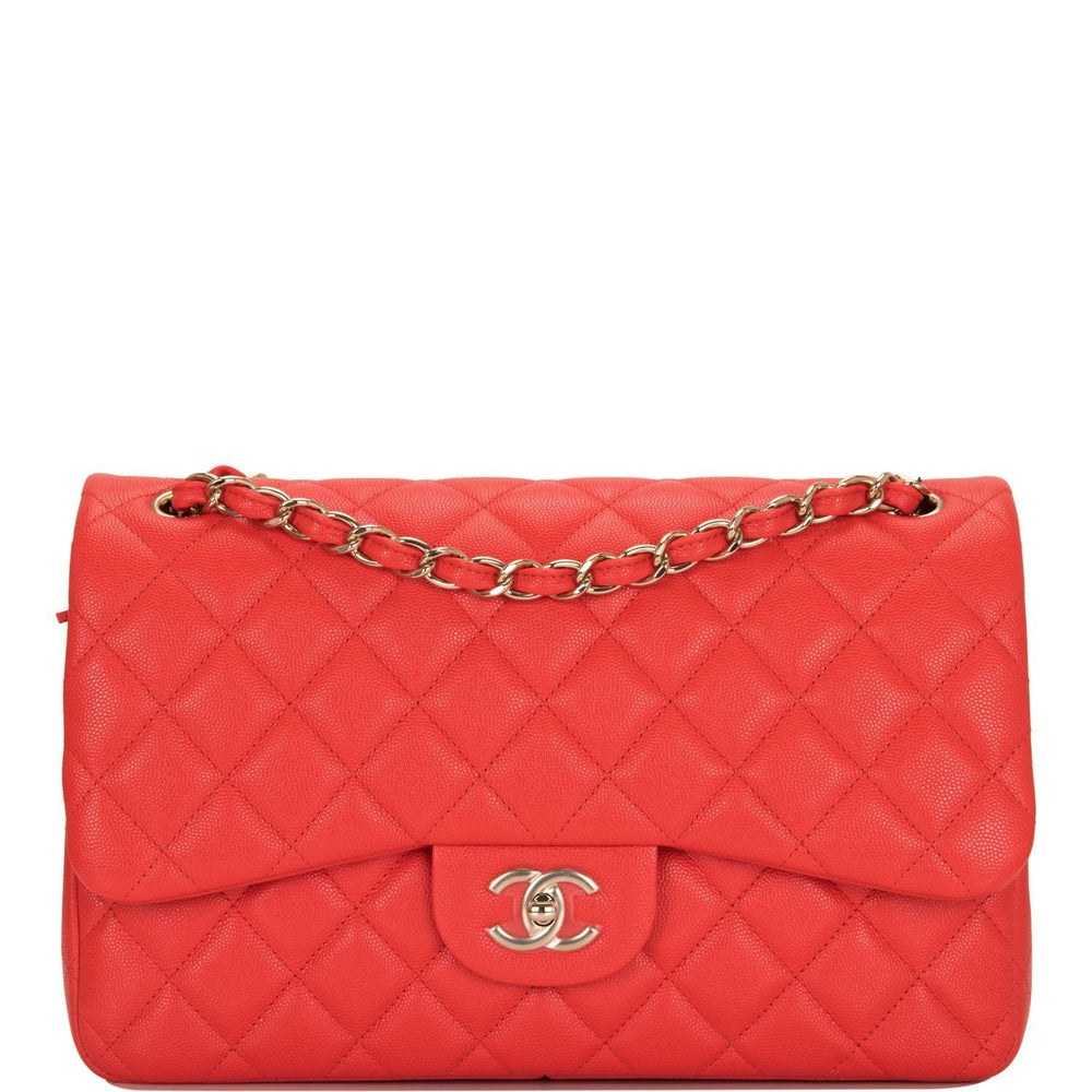 Chanel Red Shiny Quilted Caviar Jumbo Classic Double Flap Bag Gold Hardware