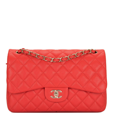 97c6c7544534 Chanel Red Shiny Quilted Caviar Jumbo Classic Double Flap Bag