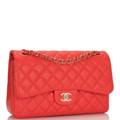 Chanel Red Shiny Quilted Caviar Jumbo Classic Double Flap Bag