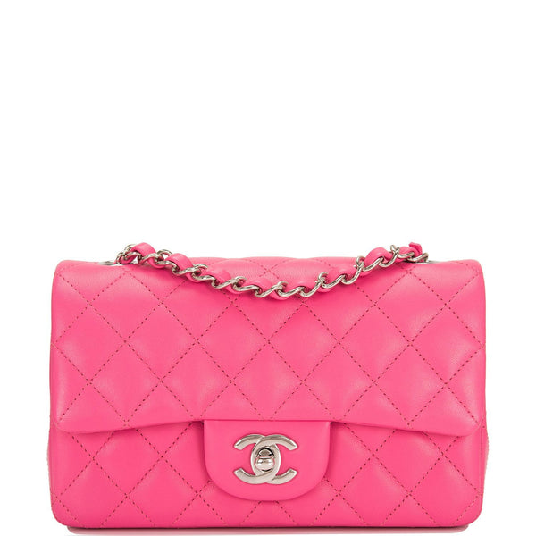 32127ea0fdd1 Chanel Pink Quilted Lambskin Rectangular Mini Classic Flap Bag ...