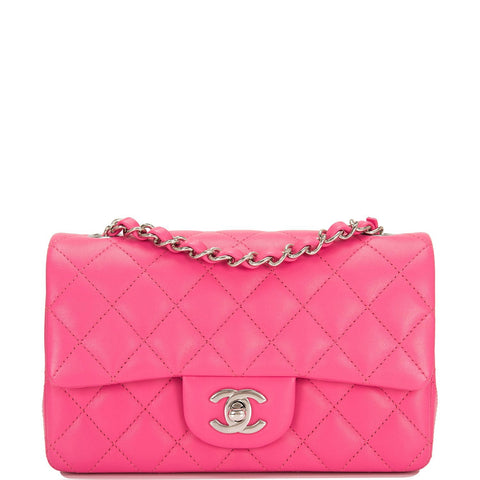ca1995656fa82b Chanel Pink Quilted Lambskin Rectangular Mini Classic Flap Bag