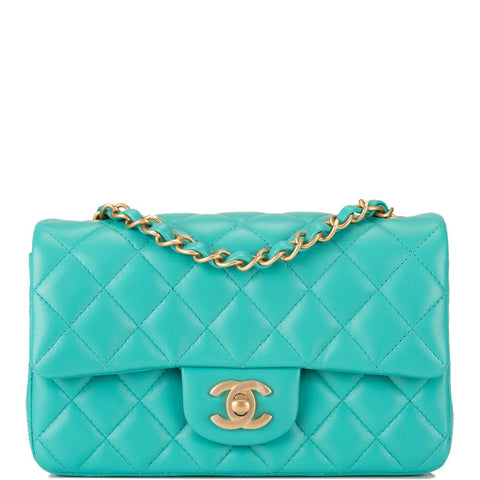 9d083ec3d34 Chanel Turquoise Quilted Lambskin Rectangular Mini Classic Flap Bag