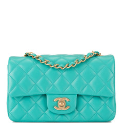 Chanel Turquoise Quilted Lambskin Rectangular Mini Classic Flap Bag