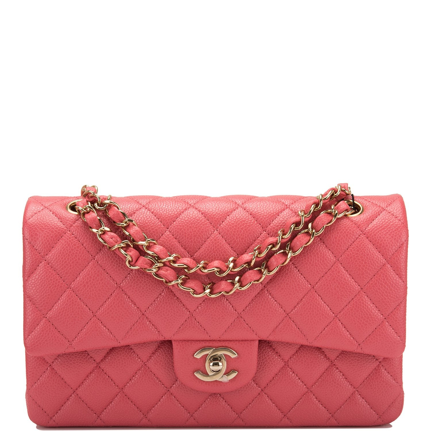 acc23275e470 Chanel Pink Shiny Quilted Caviar Medium Classic Double Flap Bag ...