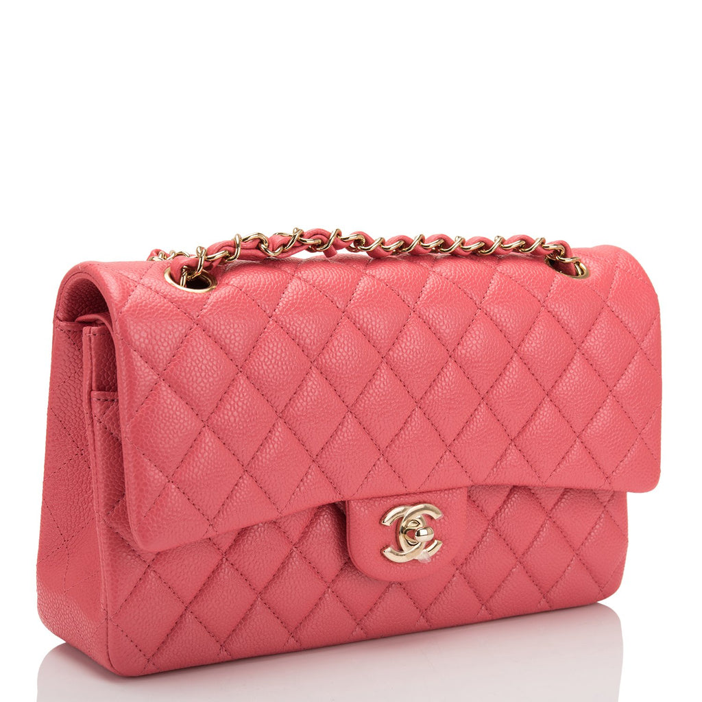 Chanel Pink Shiny Quilted Caviar Medium Classic Double Flap Bag