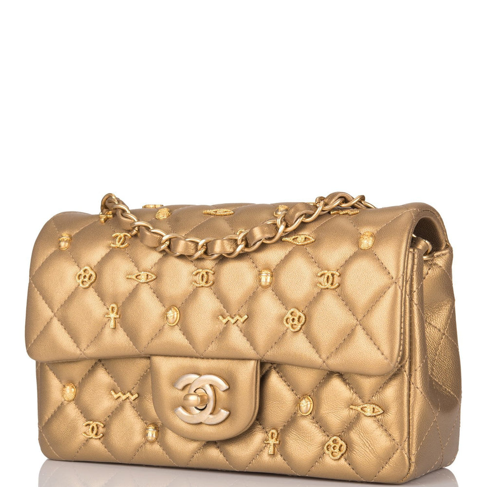 Chanel Metallic Gold Charms Quilted Lambskin Rectangular Mini Classic Flap Bag